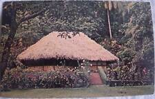 Tahitian Fare with coconut frond roof postcard 1960 Tahiti Papeete