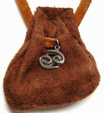 "Zodiac essence medicine bag- Cancer -""rusty"" brown suede leather"