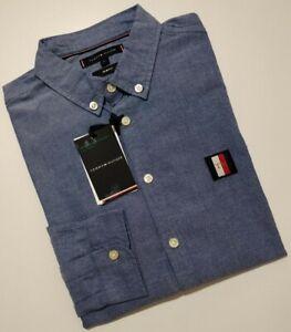 Tommy Hilfiger Men's Slim Fit Oxford Shirt With organic Cotton, DK BLUE