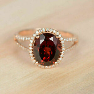 4.50Ct Oval Brilliant Cut Red Garnet Halo Engagement Ring 14K Rose Gold Finish