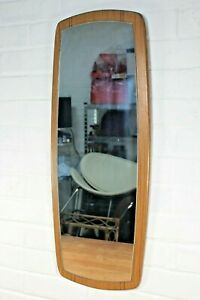 Vintage Retro Mid Century Danish Teak Effect Oblong Wall Mirror 3/4 Length 1960s