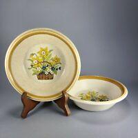 Vintage Mikasa Stone Manor Garden Bouquet Cereal Soup Bowl Pair