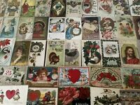 Great Lot of 100 Antique & Vintage Post Cards,Christmas,Valentine, Easter Etc-36