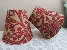 Handmade Candle Clip Lampshade William Morris Bluebell Claret fabric