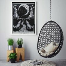 Indian Handmade The Wolf Moon Wall Hanging Cotton Poster (Black and White)