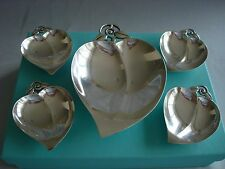 TIFFANY sterling silver ~ HEART SHAPE DISH BOWL TRAYS NUT CANDY ~ SET OF 5 ~box