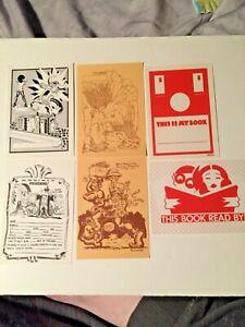 Set of six UG bookplates RCrumb,RWilliams,GBarr,Zoell,ADavoren all new unused