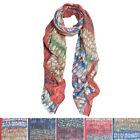 Elegant Multi Color Feather Print Frayed Edge Fashion Scarf Shawl Wrap