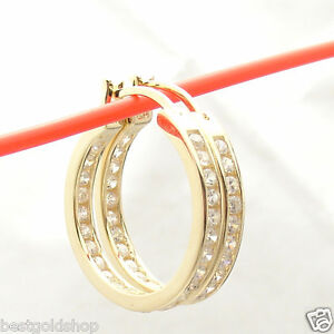 "1""  Inside Out Diamonique CZ  Hoop Earrings 14K Yellow Gold Clad 925 Silver"