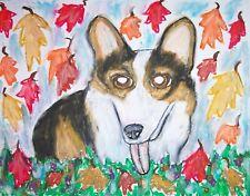 Pembroke Welsh Corgi Autumn Colors Pop Art Print 8x10 Dog Collectible Signed Tri