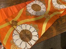 "Vintage Japanese Kimono Obi Silk Orange Floral Pattern 164"" Long  12"" Wide"