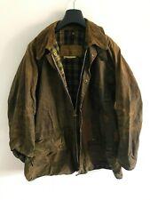 Mens Vintage Barbour Solway Zipper wax jacket Dark Brown coat 46 in size L/XL