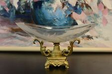 Cut Crystal Glass Bowl Plate With Gilt Bronze Mounts Stand