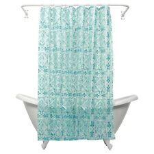 Morocco Blue PEVA Vinyl Shower Curtain India Ink Aqua Teal Medallion