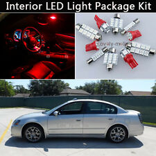 9PCS Bulbs RED LED Interior Car Lights Package kit Fit 02-2006 Nissan Altima J1