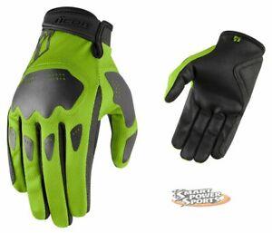 ICON - Hooligan Gloves - GREEN - LARGE - Lightweight Summer Street Glove -
