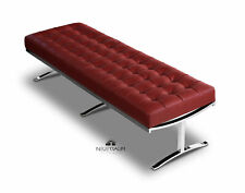 Long Bauhaus Leather Bench Loft Bank Bordeaux Red Stand Stainless Steel Pin