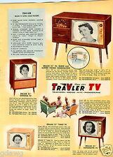 "1957 PAPER AD 2 Sided TV Television Travler Trav Ler Console Portable 17"" 21"""