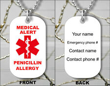 MEDICAL ALERT PENICILLIN ALLERGY PERSONALIZED EMERGENCY DOG TAG FREE CHAIN -kh7Z