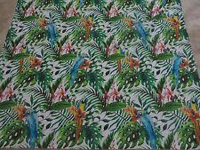 Parrot parrots tropical leaves green blue orange remnant fabric piece 125x110cm