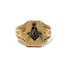 SOLID 14K YELLOW GOLD MASONIC RING ~ SIZE 9 1/4