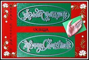 Merry Christmas Sentiment Metal Cutting Die Christmas Word Card Making DIY UK