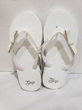 NWT Girls Gap Kids White Glitter Bow Flip Flops Sandals Sz 12/13