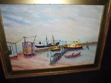 F W Longbottom Oil Painting Fishing Harbor Chester Astronomical Society England