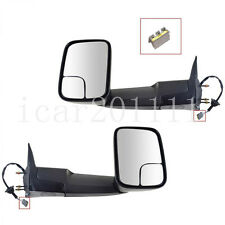 For 94-97 Dodge Ram Pickup Power Tow Mirrors Pair Non-Heated Black W/Bracket