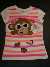 Justice Monkey Sparkles Pink Orange Stripe T Shirt Girls Size 8 EUC