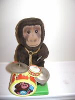 VINTAGE BATTERY OPERATED  ALPS DRUM PLAYING MONKEY CHIMP -JAPAN. WORKS- 9 inches