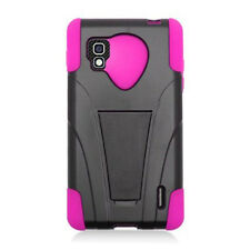 Sprint LG Optimus G LS970 Advanced KICK STAND Rubber Case Cover Black Hot Pink