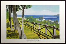 "Tom Cameron 1987 ""Mackinac Island, Michigan"" Vintage Art Poster Make Offer"