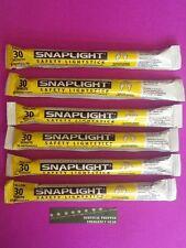 6 Yellow Cyalume SNAPLIGHT Emergency Light Sticks  30 Minute Hi Intensity