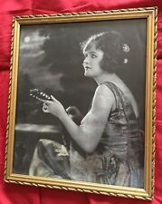 Beautiful Woman Playing String instrument Romantic Moonlight Framed 1920-1930s