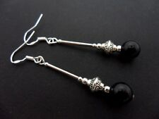 A PAIR OF LONG BLACK ONYX BEAD  EARRINGS WITH 925 SOLID SILVER HOOKS. NEW..