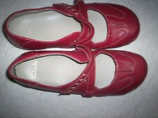 Clarks 'Funky Chime' Ladies Cherry Leather Low Wedge Mary Jane Shoes UK 5 D