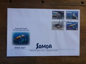 SAMOA 2016 WWF TURTLES SET 4 STAMPS FDC FIRST DAY COVER