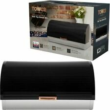 Tower Linear T826000RB Roll Top Bread Bin Stainless Steel Black and Rose Gold