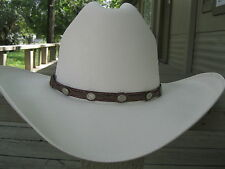 Hat Band #914 - Leather - Brown with Round Shaped Conchos