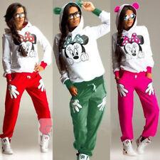 Damen Minnie Mouse Trainingsanzug Hoody Sweatshirt Hosen Set Loungewear Neu