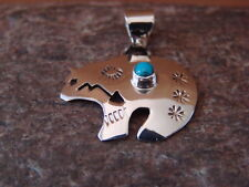 Navajo Indian Jewelry Sterling Silver Turquoise Hand Stamped Bear Pendant!