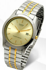 Casio MTP-1141G-9A Mens Analog Watch Stainless Steel Band Gold Date Display New
