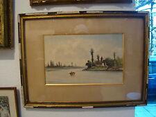 Signé P. Seignon  , aquarelle de deux pêcheurs en barque au bord d'un fleuve