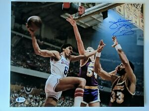 Julius Erving Signed 11x14 Photo Beckett Witnessed COA Authentic Auto Dr. J Lake