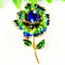 Carved Tibetan Gold Drops Of Oil Blue Crystal Flower Pendant Brooch S50254