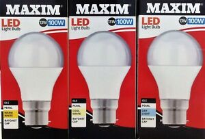 3 x LED 100w Watt Equivalent GLS Bayonet B22 Light Bulb Warm , Day or Cool White
