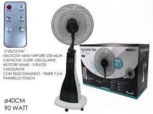 Ventilatore Nebulizzatore Oscillate ad Acqua Piantana Telecomando con Ruote 90W