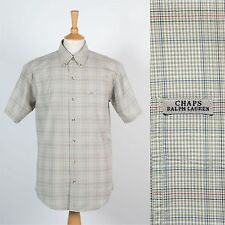 RALPH LAUREN CHAPS SHIRT SHORT SLEEVE PALE GREEN CHECK CASUAL BUTTON DOWN M