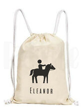 Personalised Horse Drawstring Rucksack Canvas Gym/ PE Bag- 'Horseriding'